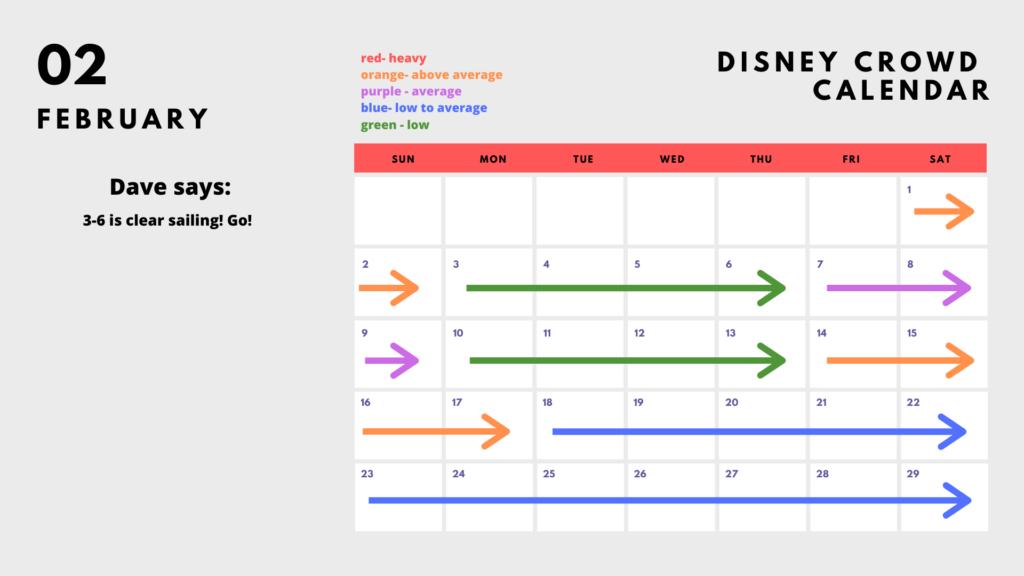 2020 Disney World Crowd Calendar - February
