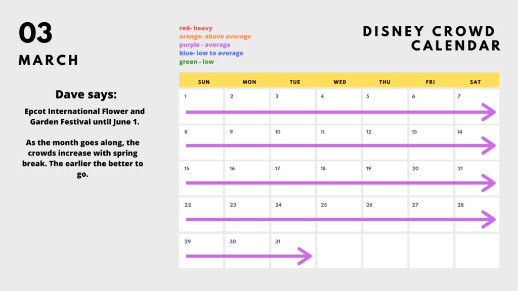 2020 Disney World Park Calendar - March