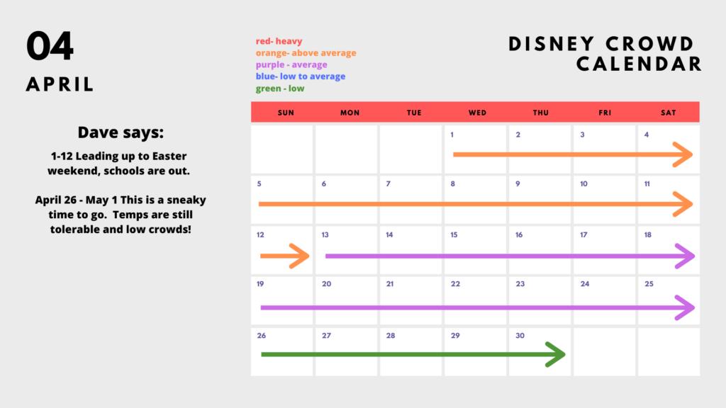 2020 Disney World Crowd Calendar - April