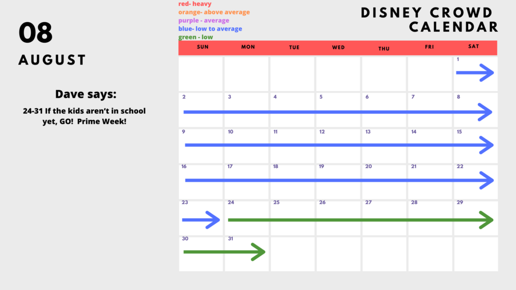 August is a great time to go to Disney WOrld!