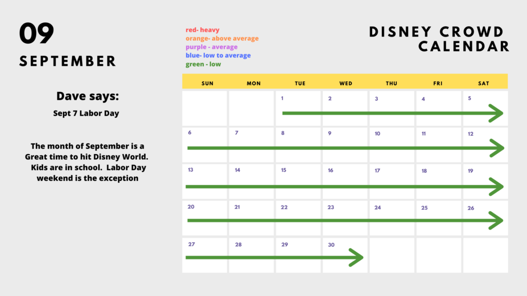 When to go to Disney in September 2020