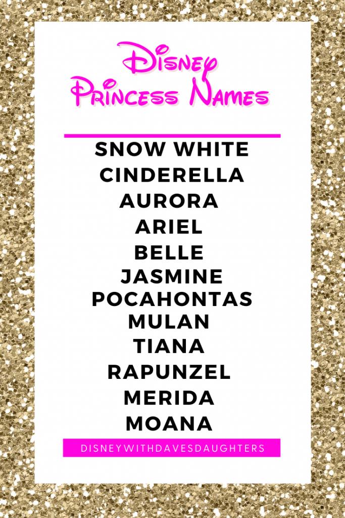 Disney Princess Names in order